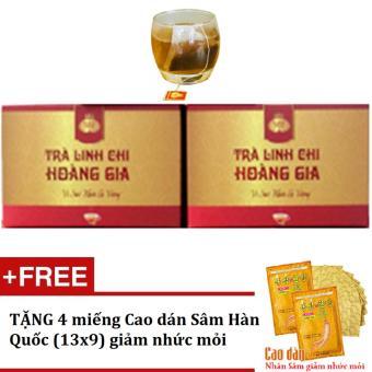 Bộ 2 hộp Trà túi lọc Linh chi Hoàng Gia 20 gói/hộp + Tặng 4 miếng Cao dán Sâm Hàn Quốc giảm nhức mỏi
