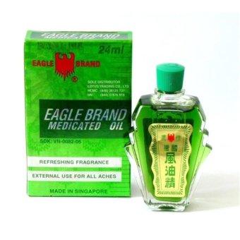 Bộ 3 Chai Dầu gió xanh hiệu con Ó Eagle Brand Medicated Oil 24ml (Xanh)