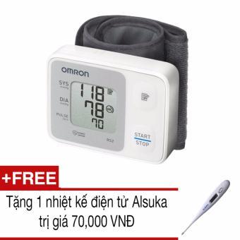 Máy đo huyết áp cổ tay Omron HEM-6121 (Trắng)+Tặng 1 nhiệt kế Alsuka