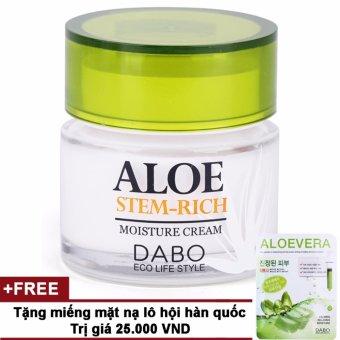 Kem dưỡng da làm trắng và trẻ hoá da Aloe Stem-Rich Cream Cao cấp Hàn Quốc 50g + Tặng miếng mặt nạ trắng da lô hội Hàn Quốc 23ml