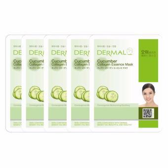 Bộ 5 x Mặt nạ dưỡng da tinh chất dưa leo Dermal Cucumber Collagen Essence Mask 23g