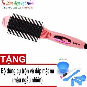 Lược tạo kiểu tóc thông minh Nova LS-189 + Tặng kèm bộ dụng cụ trộn, đắp mặt nạ 209 màu sắc ngẫu nhiên
