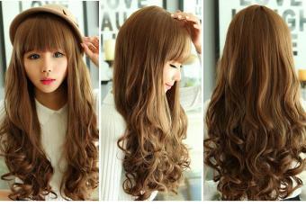 Bộ tóc xoăn đuôi, mái ngang dễ thương