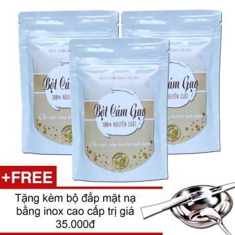 Bộ 3 Bột Cám Gạo Trị Sẹo Mụn 100g ( dạng túi) - Vũ Gia + Tặng bộ đắp mặt nạ inox cao cấp