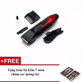 Tông đơ cắt tóc trẻ em Kemei 730 (Đỏ) + Tặng bộ kềm 7 món chăm sóc móng tay