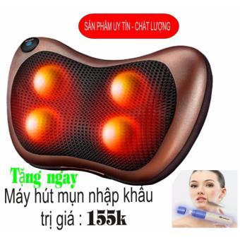Gối mát-xa hồng ngoại Massage Pillow_ 4 bi + Máy hút mụn - Hàng nhập khẩu (Nâu )