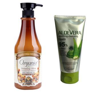 Dầu gội chống rụng tóc ORGANIA Olive Hair Shampoo Relaxing 750ml +Sữa rửa mặt Nha Đam ORGANIA Aloe Vega Soothing Cleansing Foam 130g