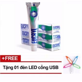 Kem Trắng Răng Và Sạch Vết Ố Vàng Răng Miệng Eucryl Toothpaste 50ml + Tặng 1 Đèn LED cổng USB