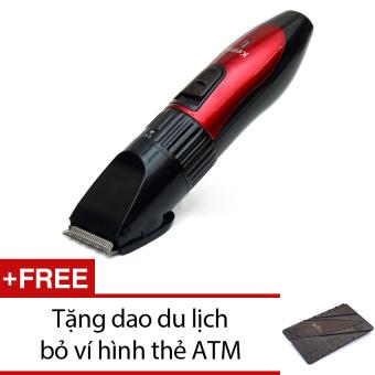 Tông đơ cắt tóc KEMEI 730 + Tặng 1 dao du lịch bỏ ví hình thẻ ATM (xám)