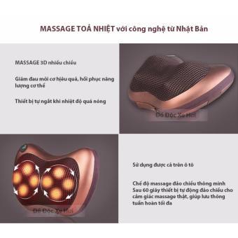 Gối massage hồng ngoại 8 bi đảo chiều thế hệ mới 2017 FP-8028 (Nâu)
