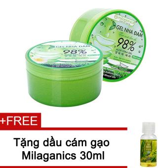 Bộ 2 gel nha đam tươi mát làn da Milaganics 300ml + Tặng 1 Dầu cám gạo Milaganics 30ml