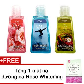 Bộ 3 gel rửa tay Lamcosme 60ml (Roses, Cool, Picnic) + Tặng mặt nạ Rose Whitening Mask
