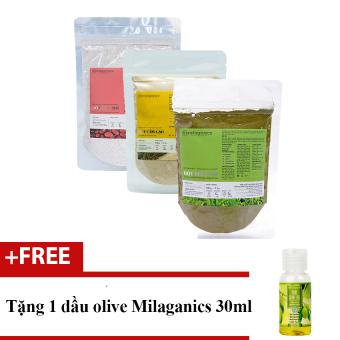 Bộ 1 bột trà xanh 100g +1 Bột cám gạo 100g và 1 Đậu đỏ Milaganics 100g + Tặng 1 tinh dầu olive 30ml