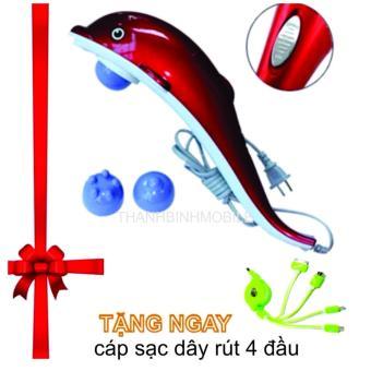 Máy mát-xa cầm tay cá heo 3 đầu (Đỏ) + Cáp sạc dây rút 4 đầu