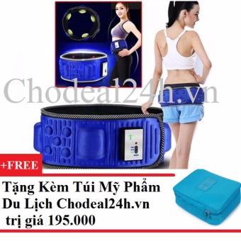 Đai Mát Xa Giảm Béo Bụng X5 Kim Phát (xanh) + Tặng túi đựng đô mỹ phẩm du lịch (xanh nhạt).
