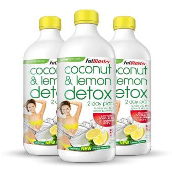 Bộ 3 Chai Thức Uống Giảm Cân, Thanh Lọc Cơ Thể Vị Dừa Chanh Naturopathica Fatblaster Coconut & Lemon Detox 750ml