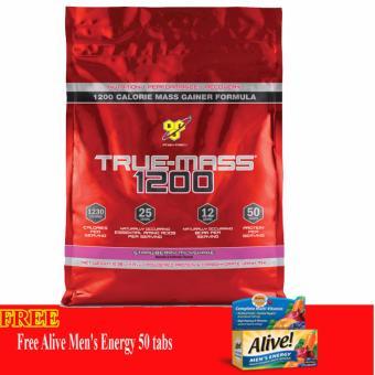 Thực phẩm bổ sung Tăng Cân Truemass 1200 Strawberry Milkshake 10.38Lb + Tặng Alive Men's Energy 50 Viên