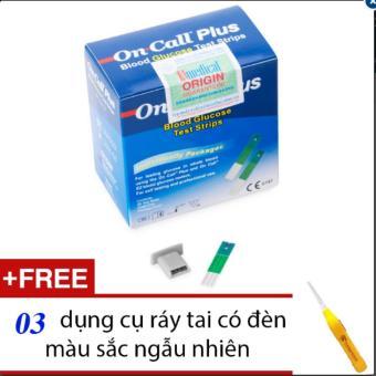 Que thử đường huyết Acon On call Plus 25 que (Xanh trắng) + Tặng 03 dụng cụ ráy tai có đèn