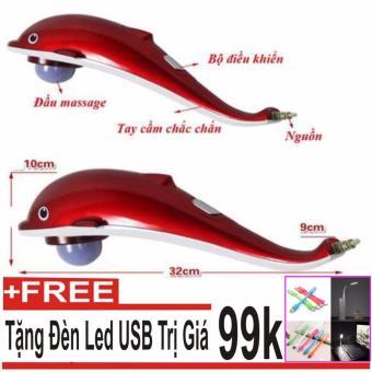 Máy mát-xa cầm tay cá heo 3 đầu (Đỏ) + Đèn Led USB