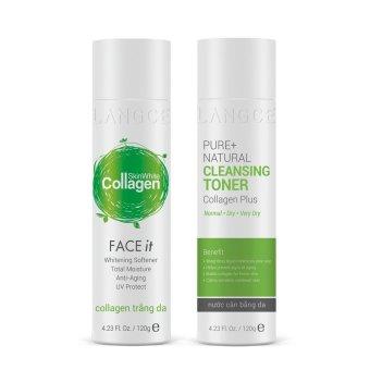 Bộ dưỡng trắng đẹp da giữ ẩm Toner - nước cân bằng mịn da và Collagen trắng da 120ml LANGCE