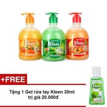 Bộ 3 Sữa rửa tay Kleen 500ml + Tặng 1 Gel rửa tay Kleen 30ml