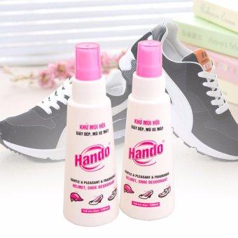 Bộ 2 chai xịt khử mùi hôi giày dép mũ bảo hiểm Hando 120Ml