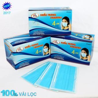 Bộ 3 hộp khẩu trang y tế màu xanh - 4 lớp vải lọc