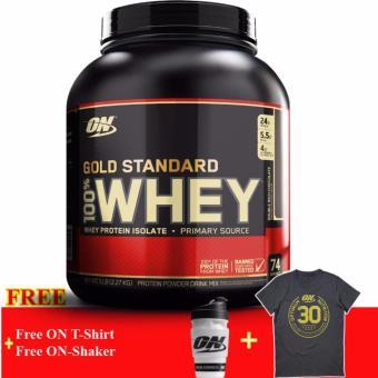 Thực phẩm bổ sung tăng cơ Gold Standard 100% Whey Vanilla 5lb + Tặng Bình lắc và Áo Thun