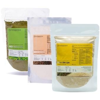 Bộ bột trà xanh 100g + Bột yến mạch 100g + Cám gạo Milaganics 100g