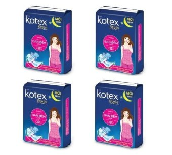 Bộ 4 gói băng vệ sinh Kotex Style ban đêm có cánh 4 miếng
