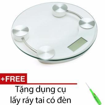 Cân điện tử mặt kính cường lực đường kính 26cm + Tặng dụng cụ lấy ráy tai có đèn