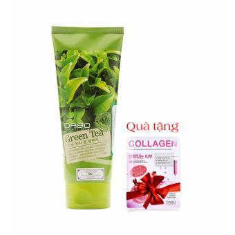 Sữa rửa mặt trà xanh 180ml Dabo Hàn Quốc trị mụn hiệu quả + Quà tặng miếng đắp mặt nạ Collagen Dabo
