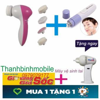 Bộ 1 máy massage tẩy trang rửa mặt và 1 Máy hút mụn cầm tay+Tặng máy vệ sinh tai