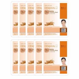 Bộ 10 Mặt nạ dưỡng da tinh chất hồng sâm Dermal Red Ginseng Collagen Essence Mask 23g