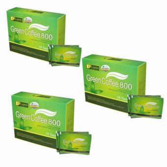 Bộ 3 Hộp Cafe Giảm Cân Green Coffee Leptin chính hãng của MỸ (18 gói 800)