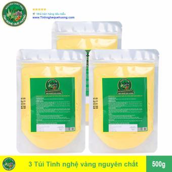 Bộ 3 Túi Tinh bột nghệ vàng Tinh Nghệ Quê Hương 500g (Trắng)