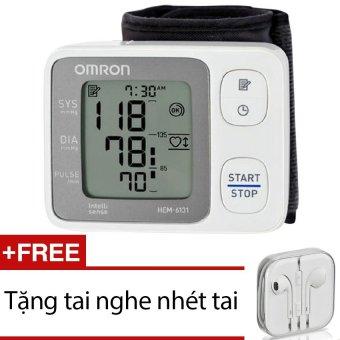 Máy đo huyết áp cổ tay Omron HEM-6131 + Tặng 1 tai nghe nhét tai