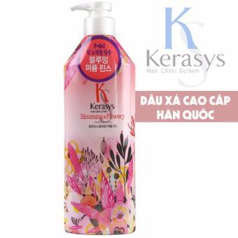 Dầu xả nước hoa chống khô xơ và chẻ ngọn tóc KeraSys Blooming& flowery Cao cấp Hàn Quốc 600ml - Hàng Chính Hãng