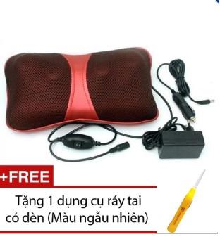 Gối Massage hồng ngoại Magic Puli PL-818 (Đỏ) + Tặng 1 dụng cụ soi tai có đèn