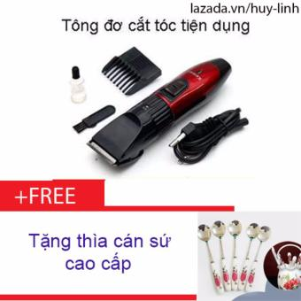 Combo tông đơ cắt tóc cho trẻ tiện dụng + Free 1 thìa cán sứ cao cấp