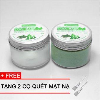 Bộ 2 Mặt Nạ Lạnh Thư Giãn Cool Mask (Tảo Spirulina Nhật Bản & Vitamin E) + Tặng 2 cọ quét