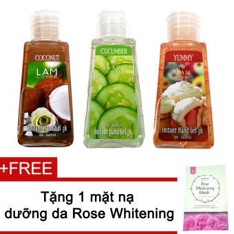 Bộ 3 gel rửa tay Lamcosme 60ml (Coconut, Cucumber, Yummy) + Tặng mặt nạ Rose Whitening Mask