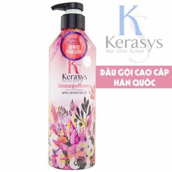 Dầu gội nước hoa cho tóc mềm mượt giảm thiểu gãy rụng Kerasys Salon Perfume Blooming & Flowery Hàn Quốc 600ml - Hàng Chính Hãng