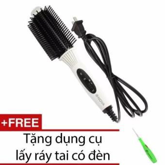 Lược điện uốn tóc đa năng NOVA NHC-8810 + Tặng dụng cụ lấy ráy tai có đèn(White)