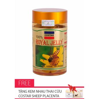 Sữa Ong Chúa Royal Jelly Soft Gel Capsules 1450mg Costar 100 Viên + Tặng Kem Nhau Thai Cừu Costar Sheep Placenta