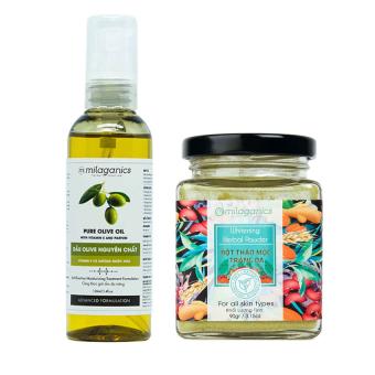 Bộ Milaganics bột thảo mộc trắng da 90g và dầu olive 100ml