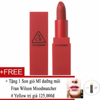 Son Lì 3ce Red Recipe Matte Lip Color #213 Fig (đỏ hồng lì) + Tặng 1 Son gió Mĩ dưỡng môi Fran Wilson Moodmatcher # Yellow