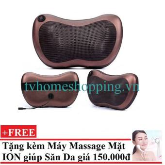 Gối mát-xa hồng ngoại Massage Pillow (Nâu) + tặng Máy mát xa mặt 3 trong 1 ( Hồng)