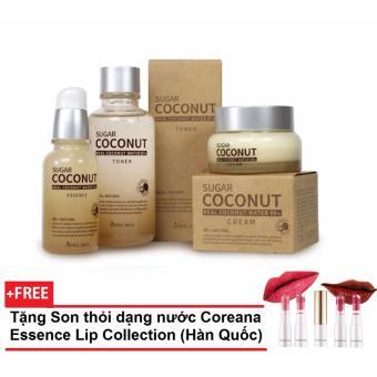 Bộ Sản Phẩm Dưỡng Da Toàn Diện Chiết Xuất Đường Đen Và Nước Dừa Tinh Khiết April Skin Sugar Coconut Bộ + Tặng Son Thỏi Dạng Nước Coreana Essence Lip Collection