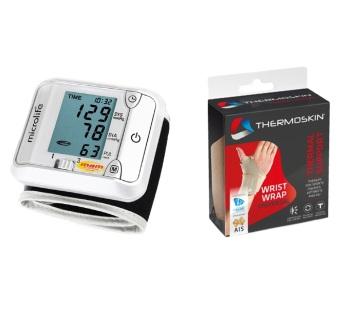 Bộ Máy đo huyết cổ tay Microlife 3BJ1-4D (Xám) và Băng nẹp khớp cổ tay 2 bên Thermoskin 8-226 (Ghi)